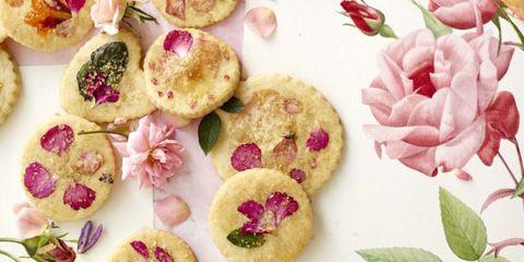 Petal, Pink, Finger food, Magenta, Recipe, Flowering plant, Dish, Artificial flower, Baked goods, Sweetness,