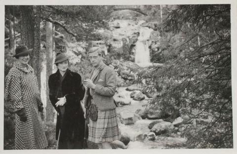 Photograph, Hat, Stream, Vintage clothing, Monochrome photography, Sun hat, Monochrome, Tartan, Black-and-white, Creek,