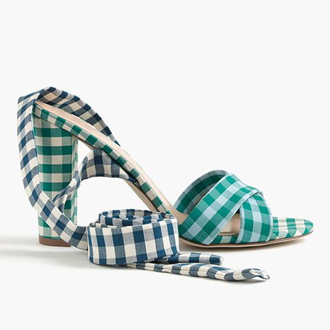 j.crew gingham ankle wrap sandals in blue and green