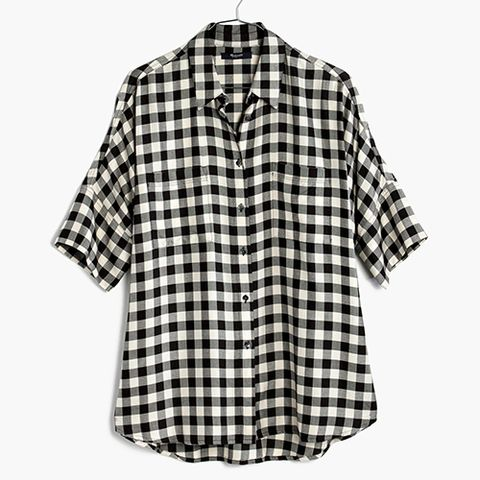 madewell courier shirt in black buffalo check