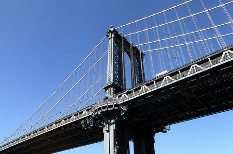 Blue, Daytime, Sky, Bridge, Suspension bridge, Architecture, Cable-stayed bridge, Infrastructure, Line, Landmark,
