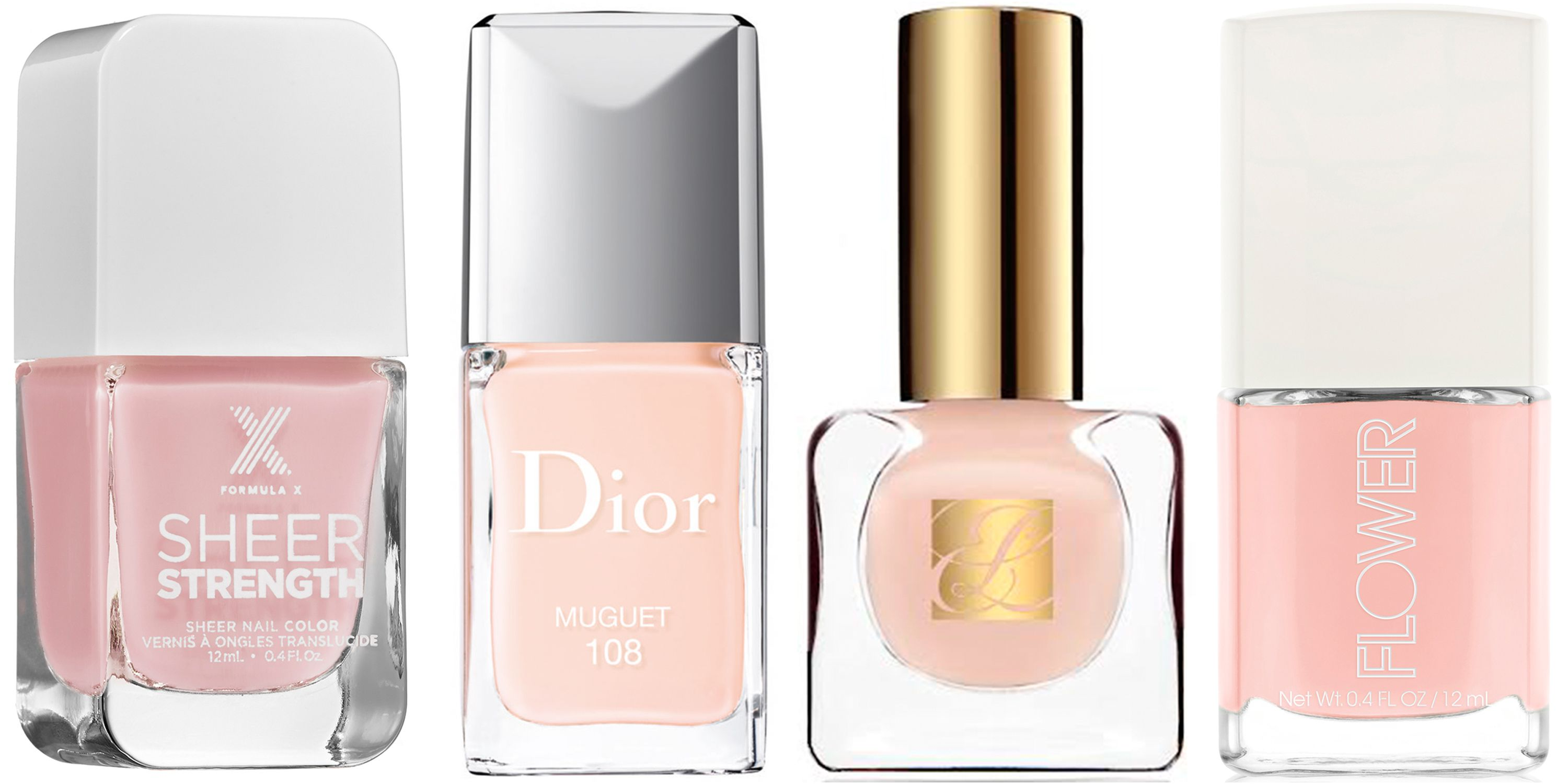 """<p><strong>Formula X </strong>Sheer Strength Nail Polish in Wondrous,$13, <a href=""""http://www.sephora.com/sheer-strength-treatment-nail-polish-P393226"""">sephora.com</a>; <strong>Dior </strong>Vernis in Muguet, $27, <a href=""""http://www.dior.com/beauty/en_us/fragrance-beauty/makeup/nails/nail-lacquers/pr-diorvernis-y0002959-couture-color-gel-shine-long-wear-nail-lacquer.html"""" target=""""_blank"""">dior.com</a>;  <strong>Estée Lauder </strong><span class=""""redactor-invisible-space"""">Pure Color Nail Lacquer in Ballerina Pink, $21, <a href=""""https://www.esteelauder.com/product/631/13562/Product-Catalog/Makeup/Pure-Color/Nail-Lacquer"""" target=""""_blank"""">esteelauder.com</a>; <strong>Flower Beauty </strong><span class=""""redactor-invisible-space"""">Nail Lacquer in Nail'd It, $5, <a href=""""http://flowerbeauty.com/nail/detail/29/flower-naild-it-nail-lacquer/"""" target=""""_blank"""">flowerbeauty.com</a>.</span></span></p>"""