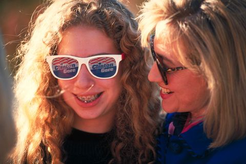 Hillary Rodham Clinton and daughter Chelsea during Bill Clinton's presidential campaign bus tour.  (Photo by Cynthia Johnson/The LIFE Images Collection/Getty Images)