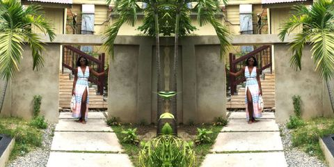 Plant, Photograph, Temple, Arecales, Waist, Palm tree, Courtyard, Outdoor structure, Column, Resort,