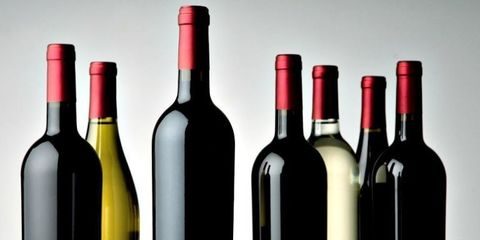 Glass bottle, Yellow, Bottle, Red, Alcohol, Alcoholic beverage, Glass, Line, Wine bottle, Drink,