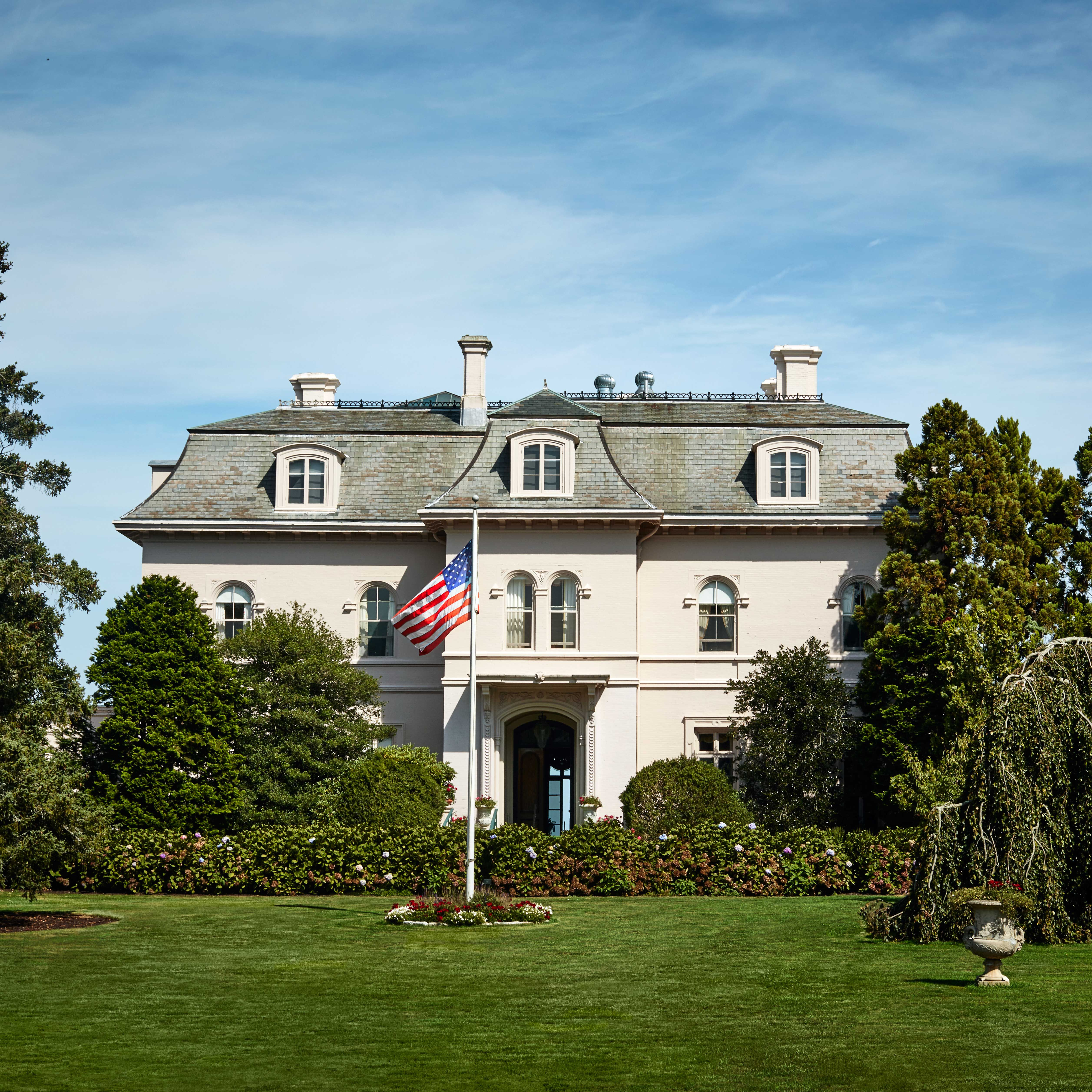 "<p>The house was designed to resemble a French château&#x3B; interior designer Valerian Rybar was responsible for the timeless interiors.</p><p>""My father didn't tell my mother when he purchased the house. We were driving to Newport and stopped at Howard Johnson's. Daddy looked at me and said, 'Don't say anything, but let me show you what I just bought.' It was a flier for Beaulieu, and it looked like a wreck. My parents were the only young couple in Newport, except for the Drexels. They started bringing ambassadors from Washington and prominent people, and all of a sudden the town really had a life. Today you go to Bailey's Beach and there are so many children. It's gratifying to know that Newport has a long history in front of it. But it's a different history."" —Dede Wilsey, Ruth Buchanan's daughter </p>"