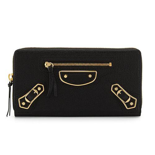 balenciaga metallic edge black zip around wallet