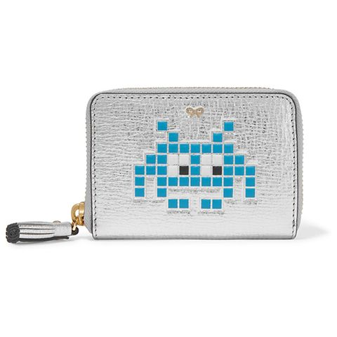 anya hindmarch space invaders silver metallic zip wallet