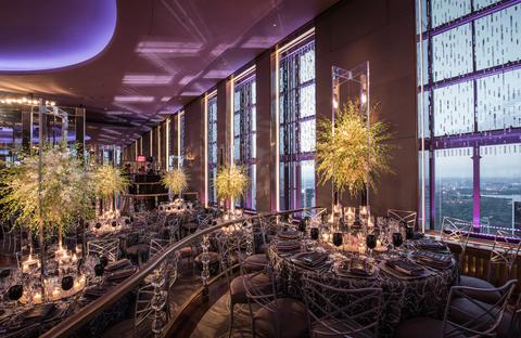 Lighting, Purple, Interior design, Decoration, Glass, Lavender, Violet, Interior design, Light fixture, Hall,