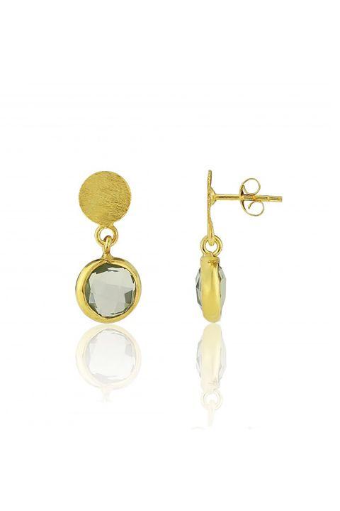 "<p>Just a little chicer than your average drop earrings. </p><p>$50, <a href=""http://www.aureejewellery.com/salina-gold-vermeil-disc-green-amethyst-earrings.html"" target=""_blank"">aureejewellery.com</a>.</p>"