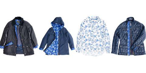 Blue, Sleeve, Collar, Textile, Outerwear, Electric blue, Pattern, Jacket, Cobalt blue, Fashion,