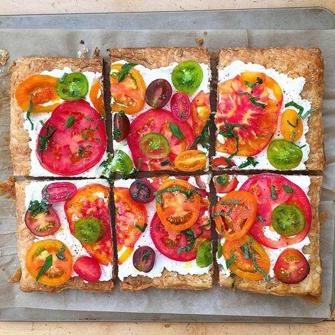 Finger food, Food, Ingredient, Recipe, Cuisine, Pizza, Garnish, Dish, Baked goods, Vegetable,
