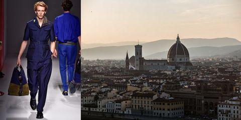 City, Dome, Electric blue, Cobalt blue, Cityscape, Byzantine architecture, Metropolis, Dome, Fashion design, Suit trousers,