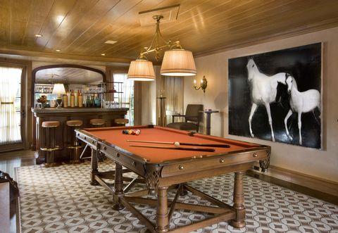 Billiard table, Pool, Wood, Lighting, Indoor games and sports, Room, Billiard room, Interior design, Recreation room, Hardwood,