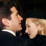 John F. Kennedy Jr., son of late U.S. President, with his wife Carolyn Bessette Kennedy, arrive at La Scala theatre in Milan Sunday, December 7, 1997. Giuseppe Verdi's Macbeth, directed by Italian maestro Riccardo Muti, opened the opera season at the renowned Milanese theatre. (AP Photo/Luca Bruno)