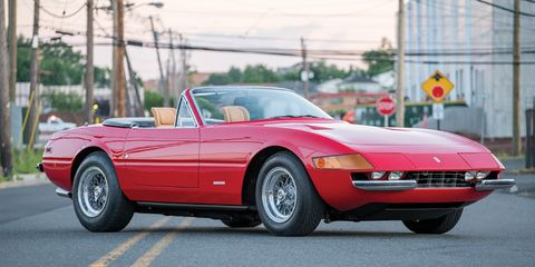"""<p>Designed by Pininfarina and built by Scaglietti, the Ferrari 365GTB/4 Daytona's good looks and powerful 352-hp 4.4-liter V-12 engine made the 170-mph supercoupe an instant legend. In spite of the coupe's performance benefits, the 365 Daytona that collectors truly seek is the droptop GTS/4 Spider. Credit the model's undeniable beauty and extreme rarity. While Ferrari produced just over 1400 365GTB/4 Daytona coupes, it signed off on a mere 121 365GTS/4 Daytona Spiders.<span class=""""redactor-invisible-space"""" data-verified=""""redactor"""" data-redactor-tag=""""span"""" data-redactor-class=""""redactor-invisible-space""""></span></p><p><span class=""""redactor-invisible-space"""" data-verified=""""redactor"""" data-redactor-tag=""""span"""" data-redactor-class=""""redactor-invisible-space"""">Originally painted silver with a black interior, chassis no. 16847 is a U.S.-spec car that was initially shipped to Nevada and factory fitted with an air-conditioning system. Over the past 43 years, the droptop Daytona has lived a well-documented, drama-free life. It's equipped with its original powertrain, too. This car's biggest offense is arguably its non-factory red-and-tan color scheme, added in the 1990s. The seller chose to keep the color combination despite recently restoring the rare roadster. Regardless, the car's rarity appears to have overcome this faux pas, as its sale price of nearly $2.5 million proved to be on the high side of RM Sotheby's pre-auction estimate.&nbsp;<em data-redactor-tag=""""em"""">—Greg Fink</em><span class=""""redactor-invisible-space"""" data-verified=""""redactor"""" data-redactor-tag=""""span"""" data-redactor-class=""""redactor-invisible-space""""></span><br></span></p><p><span class=""""redactor-invisible-space"""" data-verified=""""redactor"""" data-redactor-tag=""""span"""" data-redactor-class=""""redactor-invisible-space""""><span class=""""redactor-invisible-space"""" data-verified=""""redactor"""" data-redactor-tag=""""span"""" data-redactor-class=""""redactor-invisible-space""""><em data-redactor-tag=""""em""""><a href=""""http://www.caranddriver.com/flipbook/a"""