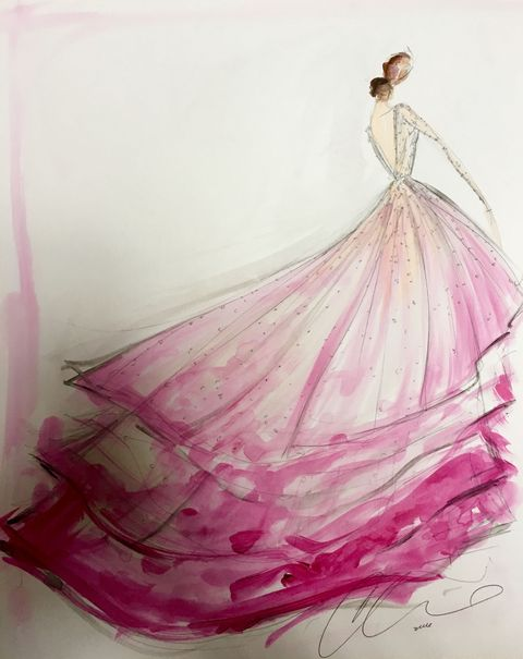 """<p>The bride turned to her friend, designer <a href=""""http://www.christiansiriano.com/bridal16.php"""" target=""""_blank"""">Christian Siriano</a> for her custom, non-traditional wedding gown. Siriano also created looks for her mother and sister.The ombré tulle ballgown with a high-low hemline had a low back and an illusion sweetheart neckline, which along with the long sleeves was completely covered in delicate degradé beading that worked its way into the skirt.</p>"""