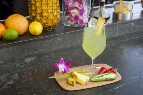 """<p><strong data-redactor-tag=""""strong"""" data-verified=""""redactor"""">Ingredients:&nbsp;</strong></p><p>2 oz. Espelon Blanco Tequila</p><p>.5 oz. Jalapeno Syrup&nbsp;</p><p>.75 oz.&nbsp;Lime Juice&nbsp;</p><p>.5 oz. Pineapple Juice&nbsp;</p><p>.25 oz.&nbsp;Simple Syrup&nbsp;</p><p><strong data-redactor-tag=""""strong"""" data-verified=""""redactor"""">Directions:&nbsp;</strong></p><p>Shake with cubes and strain over fresh ice.&nbsp;Top with 1.5 oz club soda.&nbsp;Garnish with a pineapple slice and a&nbsp;leaf.</p><p><br></p><p><em data-redactor-tag=""""em"""" data-verified=""""redactor"""">Courtesy of <a href=""""https://maui.andaz.hyatt.com/en/hotel/home.html"""" target=""""_blank"""">Andaz Maui</a> at Wailea Resort.&nbsp;</em></p>"""
