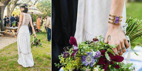 Petal, Textile, Bouquet, Flower, Dress, Wrist, Formal wear, Fashion accessory, Floristry, Cut flowers,