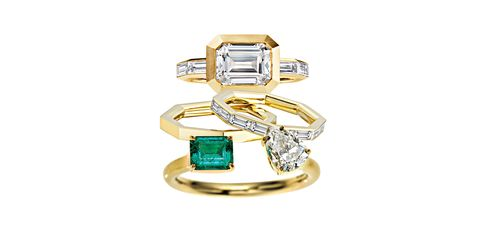 "<p>Clean lines are punctuated by and emerald and an asymmetrically set diamond.</p><p> <em data-redactor-tag=""em"" data-verified=""redactor"">From top: David Yurman ring (price on request), DavidYurman.com; Finn Bands ($8,900 and $1,650), FinnJewelry.com; Jemma Wynne Ring ($7,350), Bergdorf Goodman, 212-872-2518</em><br></p>"