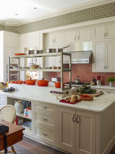 Room, Interior design, White, Furniture, Kitchen, Floor, Cabinetry, Interior design, Home, Grey,