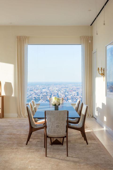 Blue, Room, Interior design, Floor, Property, Furniture, Textile, Flooring, Chair, Table,