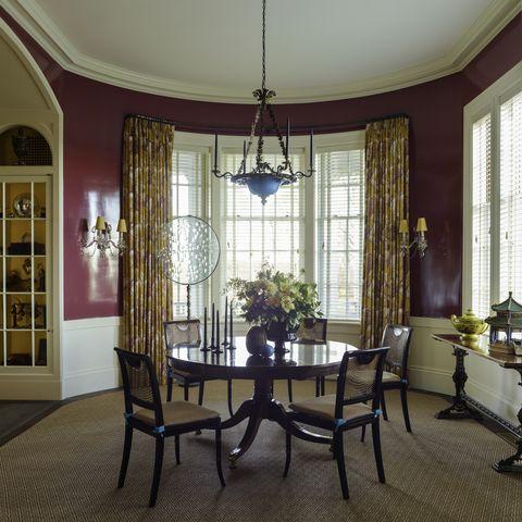 Room, Interior design, Floor, Flooring, Table, Furniture, Window covering, Chair, Ceiling, Window treatment,