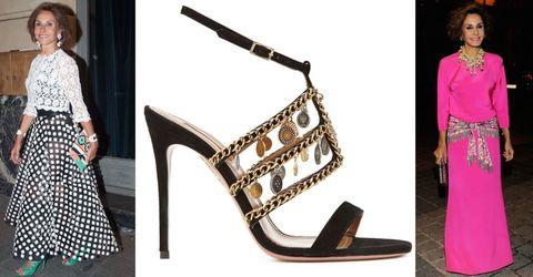 Brown, Product, Dress, Style, Pattern, Beauty, Fashion accessory, Fashion, Black, High heels,