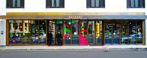 Facade, Fixture, Commercial building, Door, Retail, Display window, Signage,