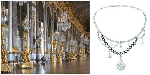 "<p>A suite of jewels reflects the hall of mirrors and its chandeliers with flexible diamond garlands and crystal clear drops.</p><p><em data-redactor-tag=""em""><strong data-redactor-tag=""strong"">Dior ""Galerie des Glaces"" diamond necklace</strong></em></p>"