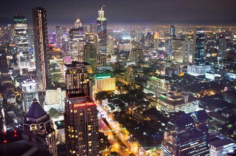 Metropolitan area, Night, Metropolis, Urban area, City, Cityscape, Tower block, Skyscraper, Aerial photography, Landmark,