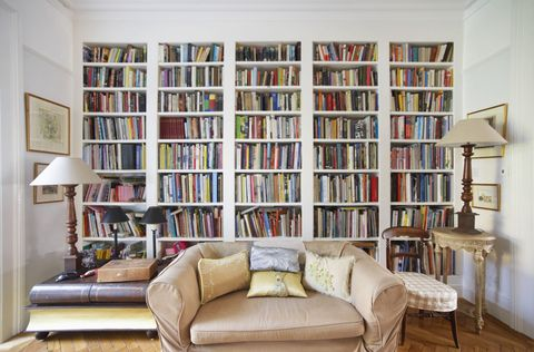 Room, Interior design, Shelf, Wood, Shelving, Wall, Publication, Furniture, Couch, Bookcase,