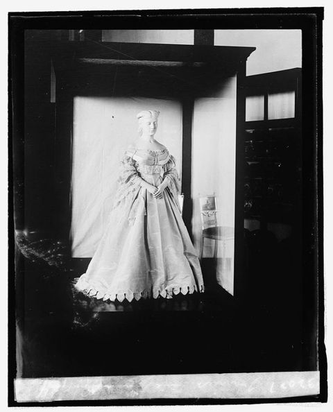 "<p>James Buchanan was a bachelor and assigned the duties of First Lady to his niece, Helen Lane Johnston. Her inaugural gown (which was accessorized with flowers) was considered shocking at the time for its <a href=""http://www.post-gazette.com/life/lifestyle/2006/12/05/The-first-first-lady-Buchanan-s-niece-enlivened-social-scene/stories/200612050130"" target=""_blank"" data-tracking-id=""recirc-text-link"">low-cut ""European"" style</a>. </p>"