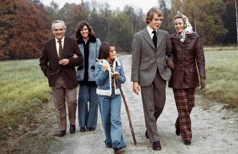 Rainier And Grace Stroll The French Countryside With Their Children From Left Caroline Stephanie Albert 1973