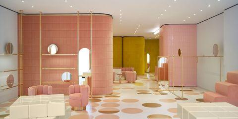 Floor, Interior design, Architecture, Wall, Ceiling, Flooring, Room, Space, Tile, Interior design,