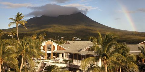 Rainbow, Tree, Arecales, Hill, House, Woody plant, Resort, Tropics, Home, Umbrella,