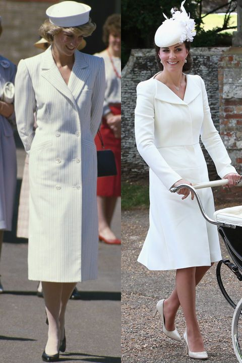Diana attending a premiere in April 1993 wearing a structured midi-length blazer dress; Kate wearing cream Alexander McQueen for Princess Charlotte's christening in 2015.