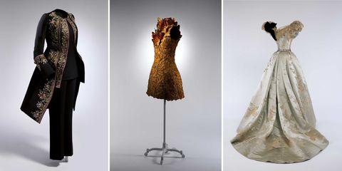 Sleeve, Dress, Textile, Formal wear, Pattern, Style, One-piece garment, Fashion, Neck, Costume design,