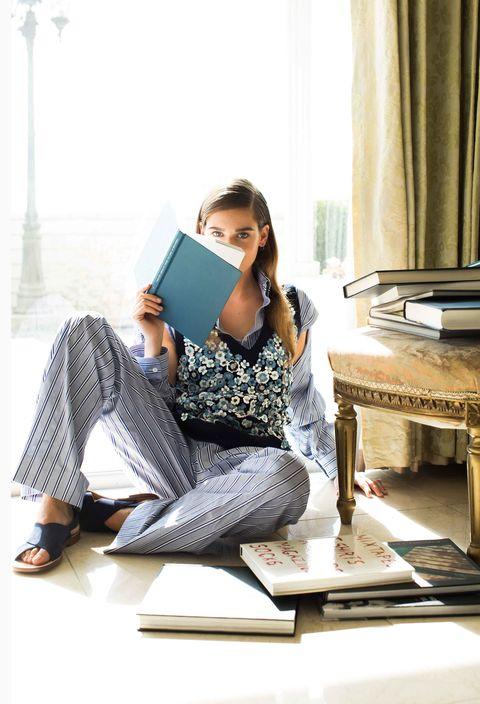 Sitting, Curtain, Denim, Street fashion, Reading, Gadget, Sandal, Computer, Book, Stock photography,