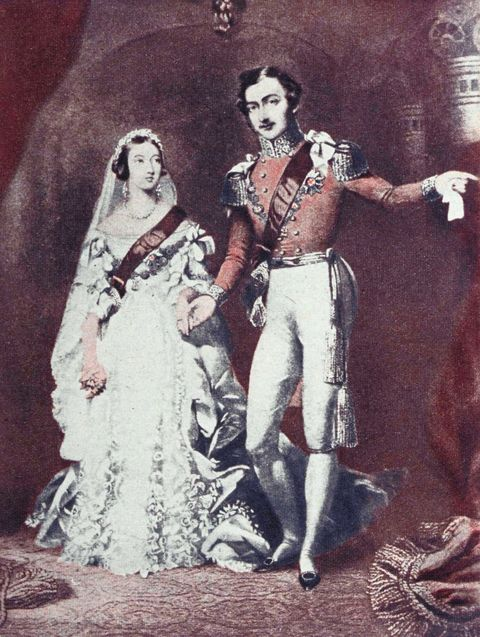 Artists Representation Of Queen Victoria And Prince Albert On Their Wedding Day In 1840