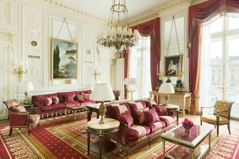 Living room, Room, Interior design, Furniture, Property, Building, Pink, Curtain, House, Couch,