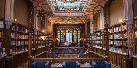 Lighting, Shelf, Interior design, Furniture, Shelving, Bookcase, Ceiling, Publication, Glass, Library,