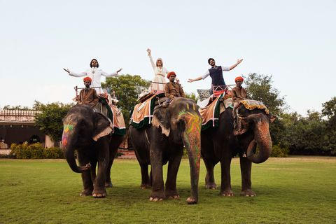 Elephant, Elephants and Mammoths, Human, People, Indian elephant, Working animal, Vertebrate, Standing, Mahout, Terrestrial animal,