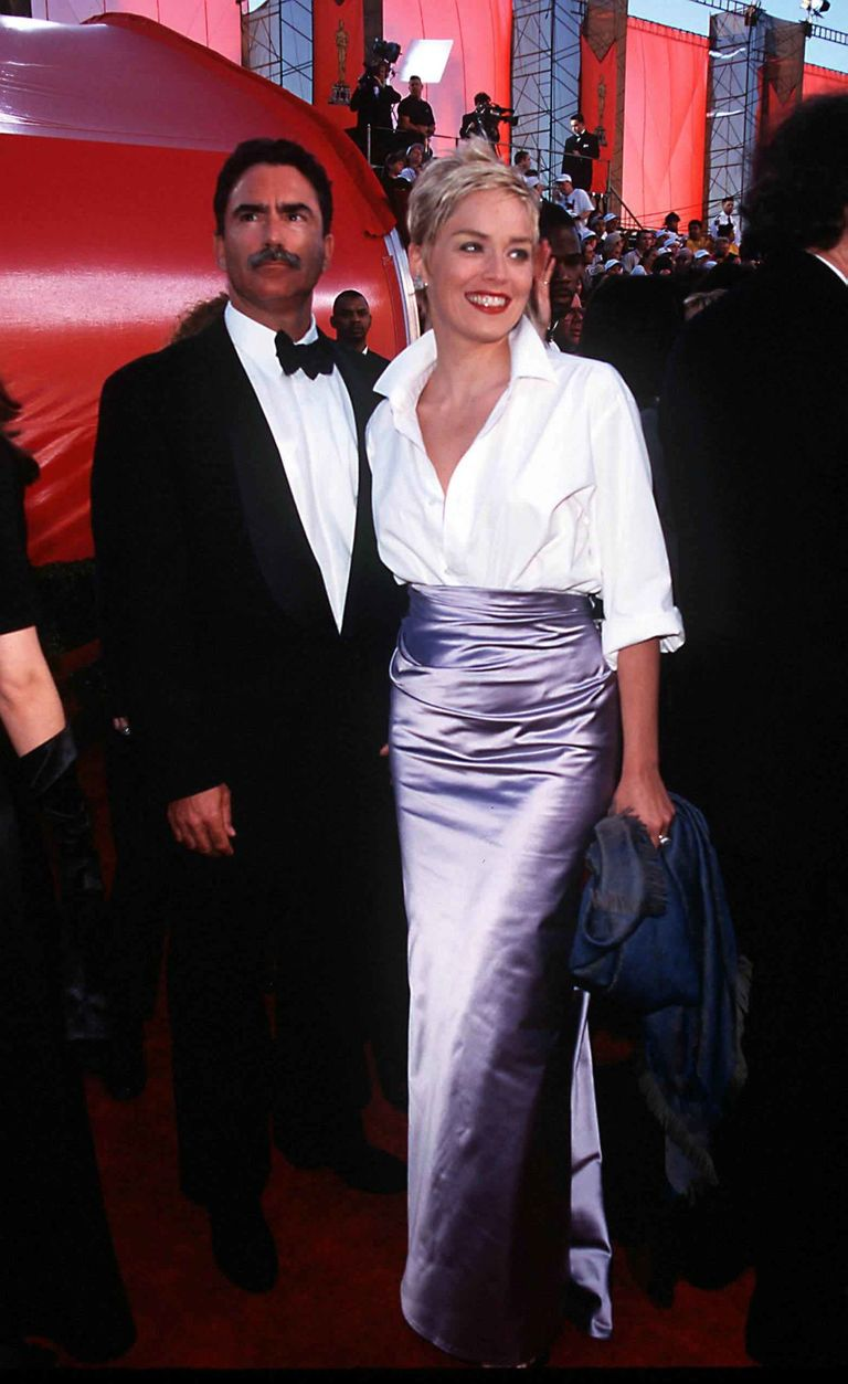 Sharon Stone paired a lilac Vera Wang evening skirt with a Gap button-down.