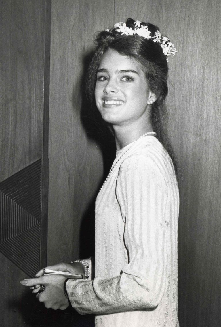 Brooke Shields in a flowy gown accessorized with a  flower crown.