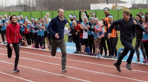 kate middleton prince william prince harry running