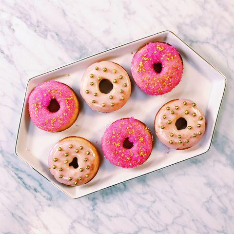 Doughnut, Food, Dessert, Pink, Baked goods, Magenta, Cuisine, Finger food, Purple, Ciambella,