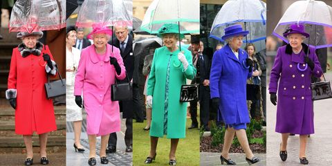 Footwear, Trousers, Outerwear, Coat, Dress, Electric blue, Luggage and bags, Umbrella, Handbag, Sun hat,