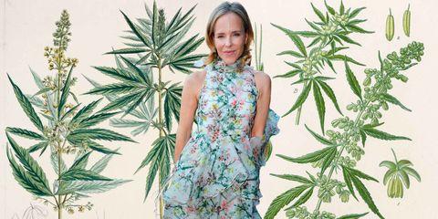 Dress, One-piece garment, Day dress, Pattern, Blond, Hemp, Hemp family, Pattern, Fashion model, Plant stem,