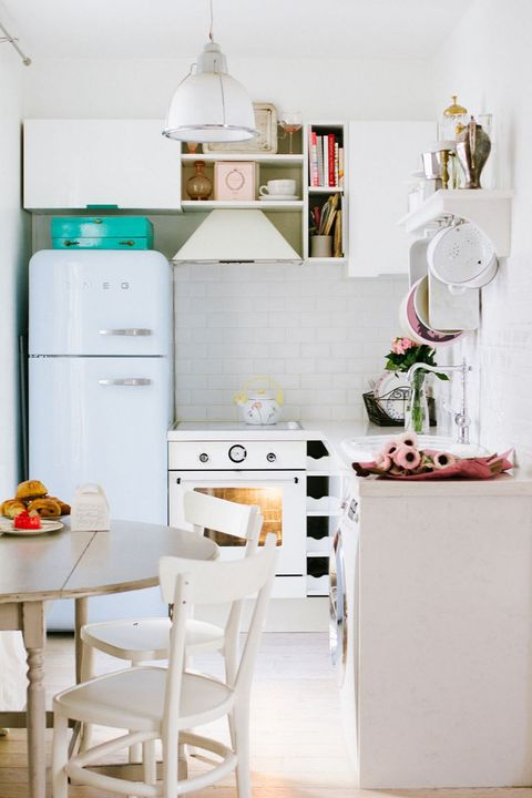 Room, White, Major appliance, Furniture, Kitchen appliance, Kitchen, Cabinetry, Dishware, Cuisine, Home appliance,